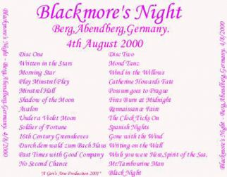 Blackmore's Night 2000.08.04 [Audio-CD] задник