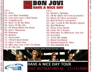 Bon Jovi 2005.12.19 [Audio-CD] задник