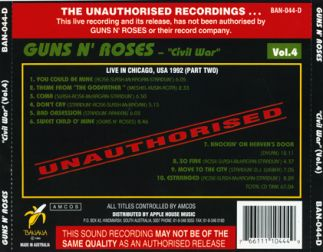 Guns 'n' Roses 1992 [Audio-CD] задник
