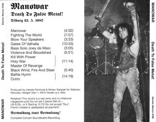 Manowar 1987.05.23 [Audio-CD] задник