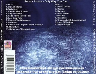 Sonata Arctica 2001.09.05 [Audio-CD] задник